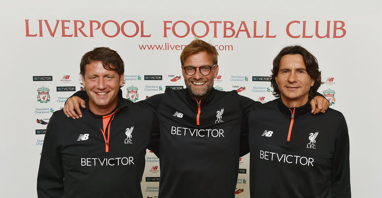 Jürgen Klopp, centre, and his assistants Peter Krawietz, left, and Zeljko Buvac. All three have signed contract extensions at Liverpool. Photograph: Andrew Powell/Liverpool FC via Getty Images
