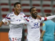 Lacazette and Tolisso celebrating for Lyon