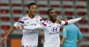 Lacazette and Tolisso celebrating for Lyon