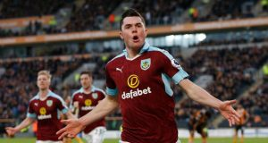 Michael Keane celebrating his goal against Hull City