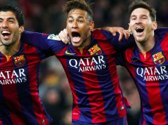 Neymar celebrating alongside Messi and Suarez