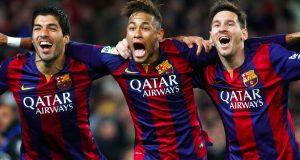 Neymar celebrating alongside Messi and Suarez